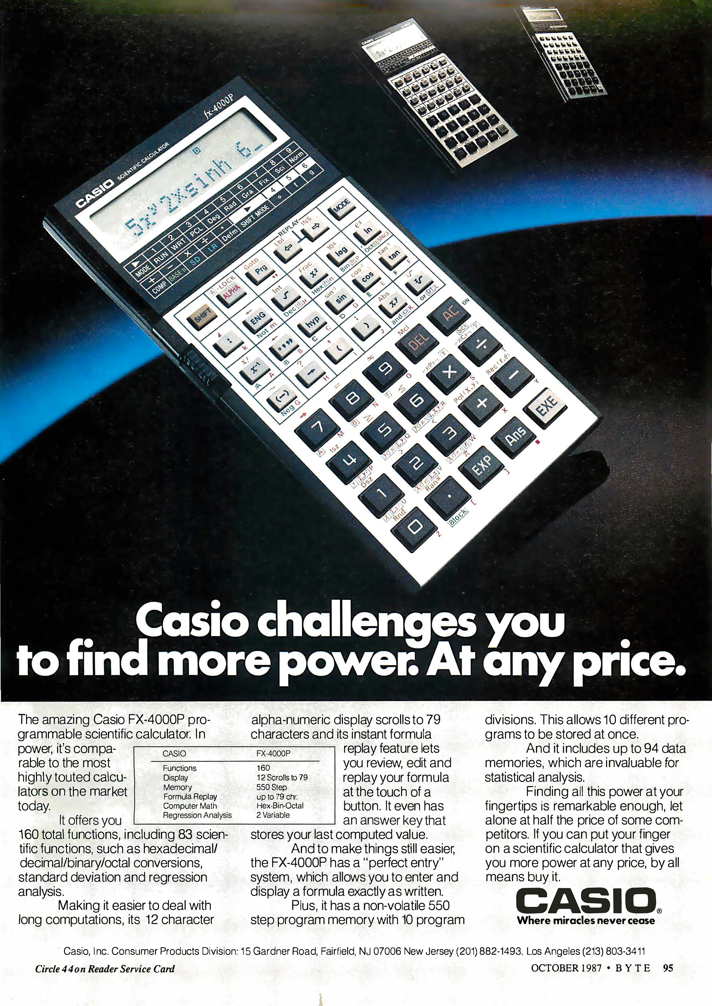 Copertina di Casio challenges you to find more power. At any price
