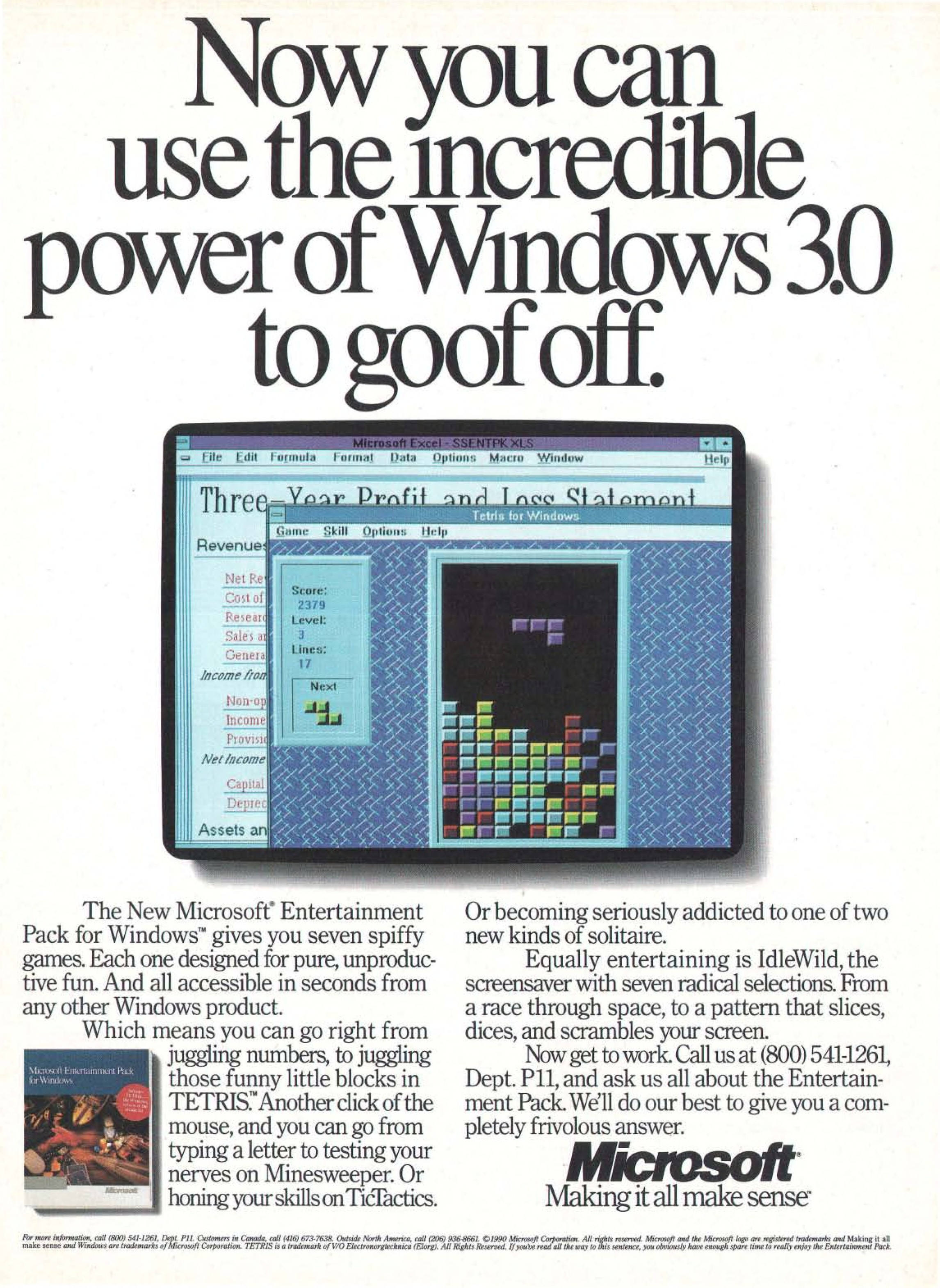 Copertina di Now you can use the incredible power of Windows 3.0 to goof off.
